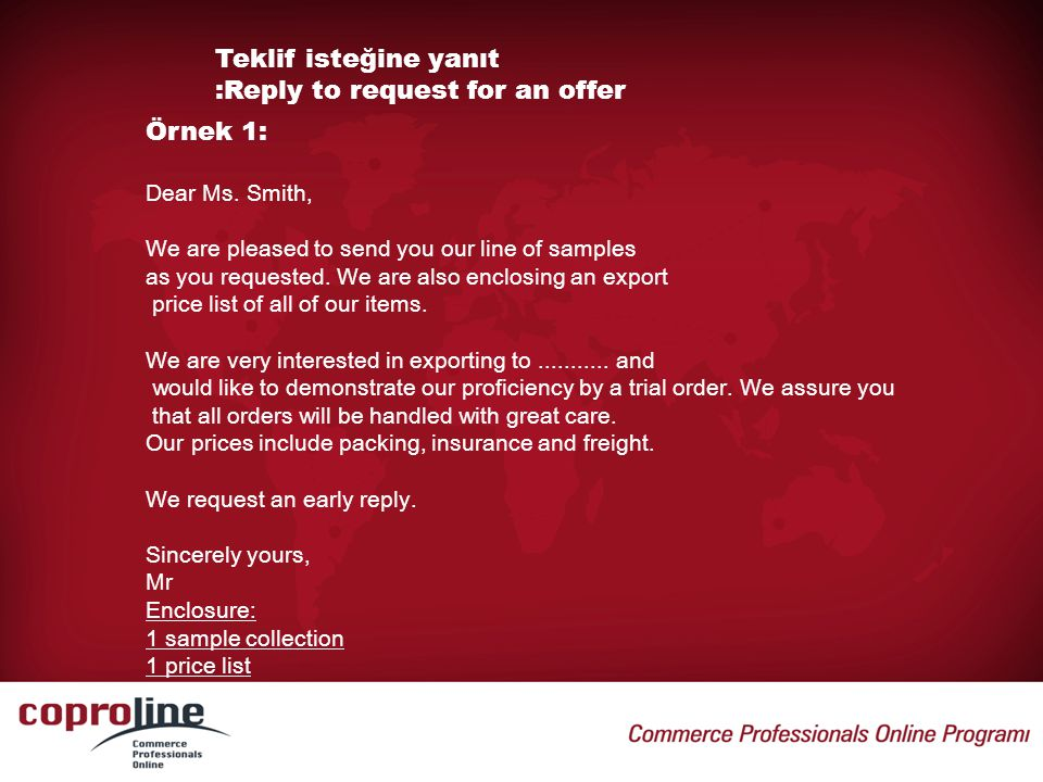 Teklif isteğine yanıt :Reply to request for an offer