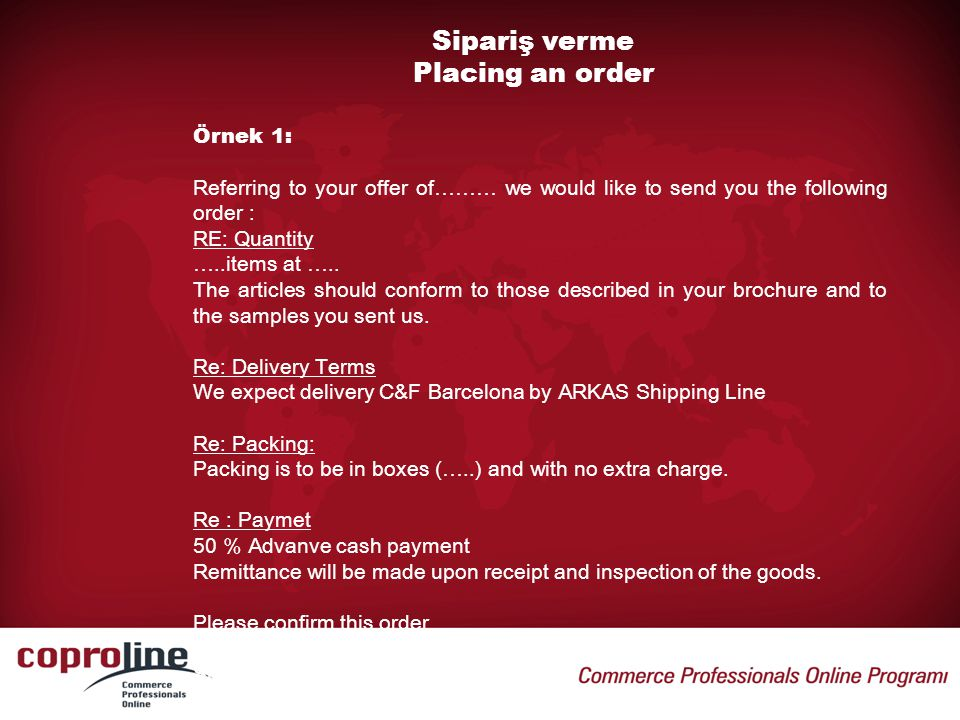 Sipariş verme Placing an order