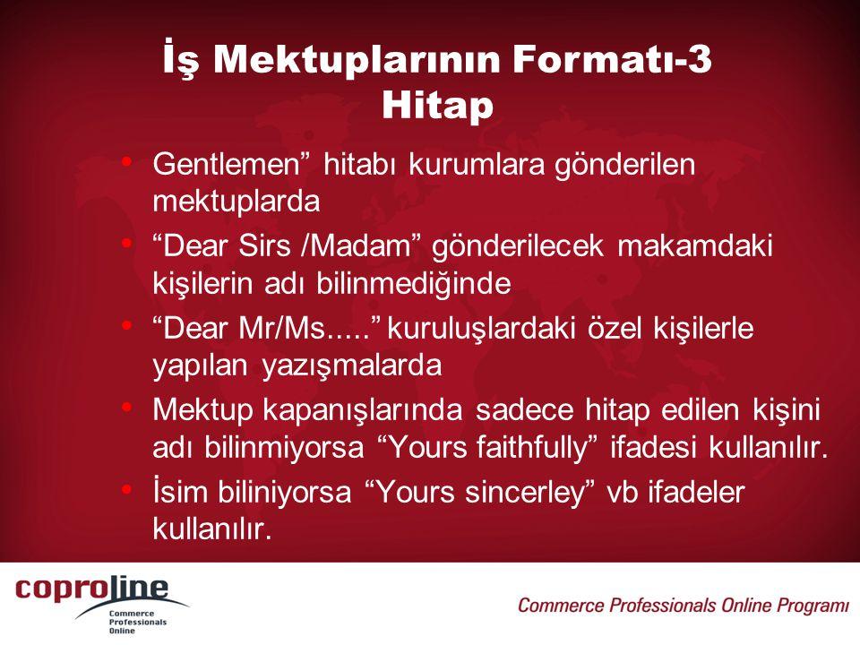 İş Mektuplarının Formatı-3 Hitap