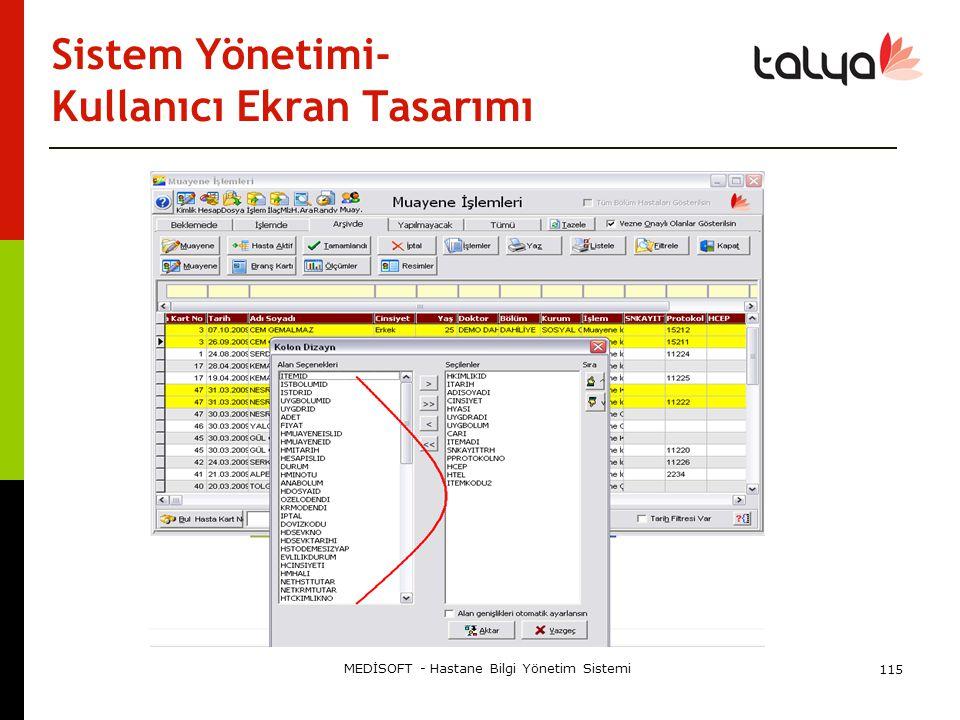 Sistem Yönetimi- Kullanıcı Ekran Tasarımı