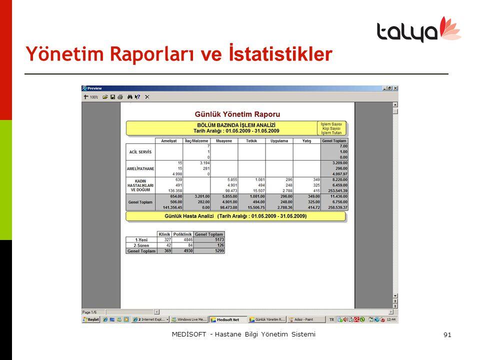 Yönetim Raporları ve İstatistikler
