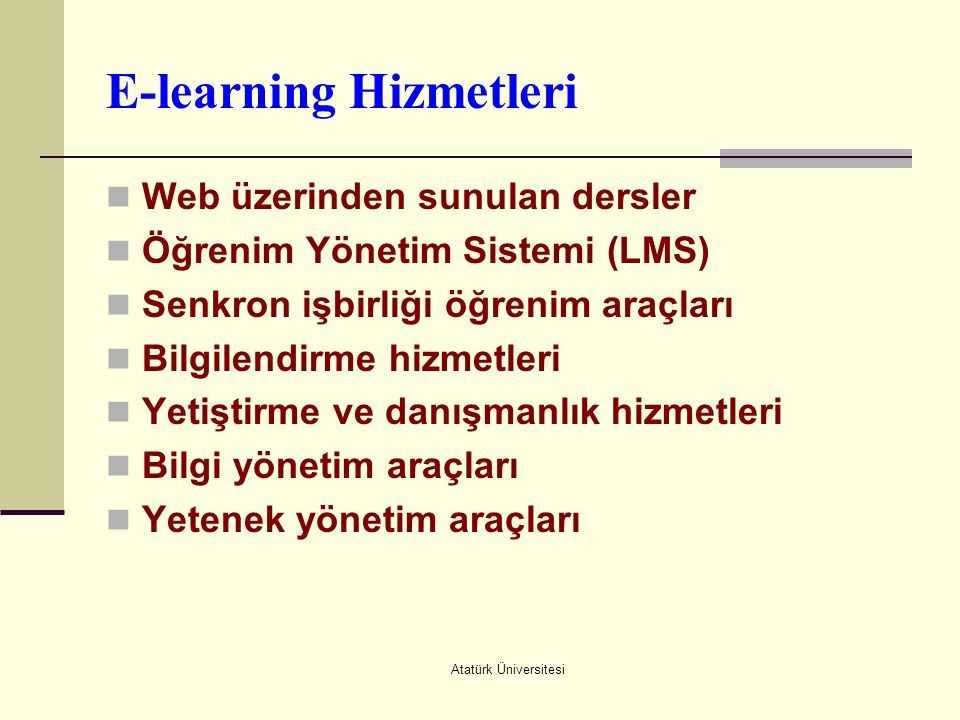 E-learning Hizmetleri