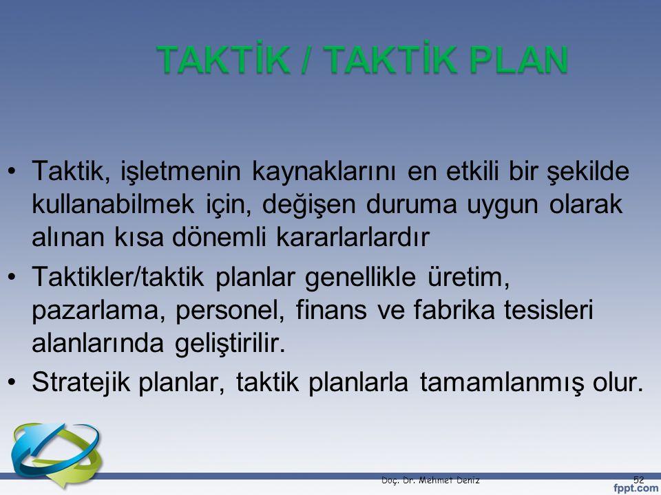 TAKTİK / TAKTİK PLAN