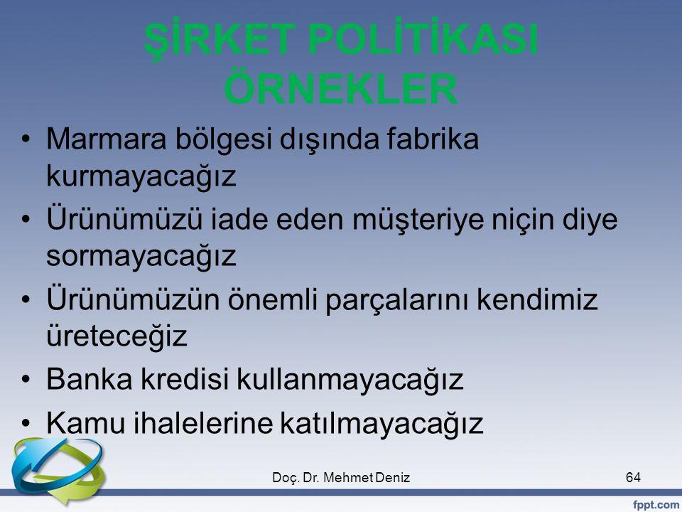 ŞİRKET POLİTİKASI ÖRNEKLER