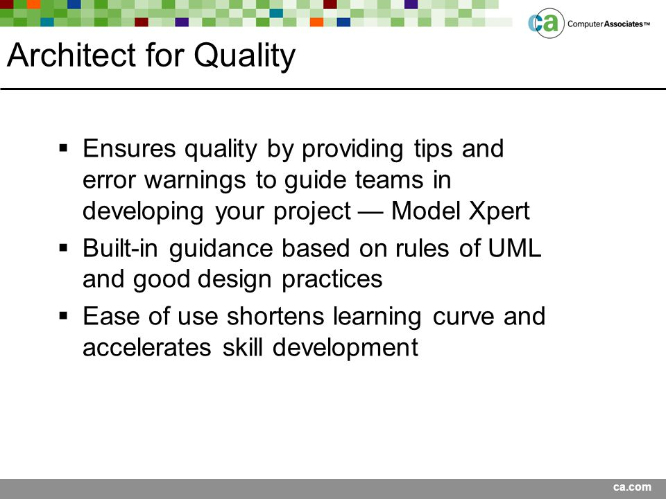Architect for Quality Ensures quality by providing tips and error warnings to guide teams in developing your project — Model Xpert.