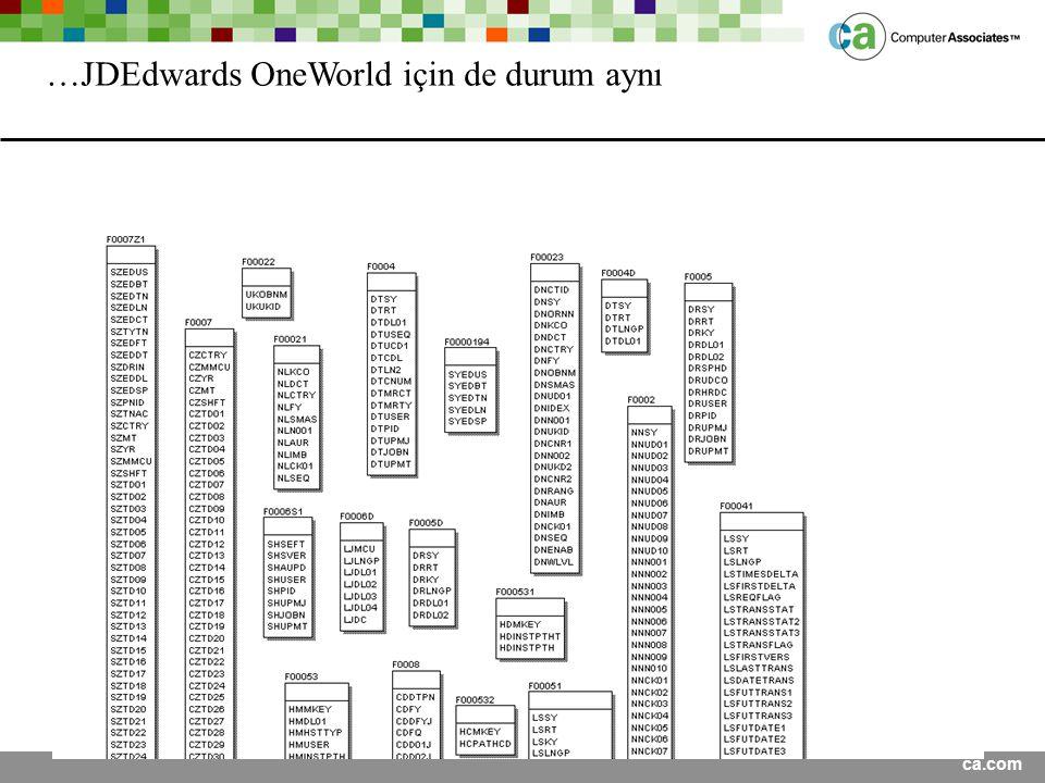 …JDEdwards OneWorld için de durum aynı