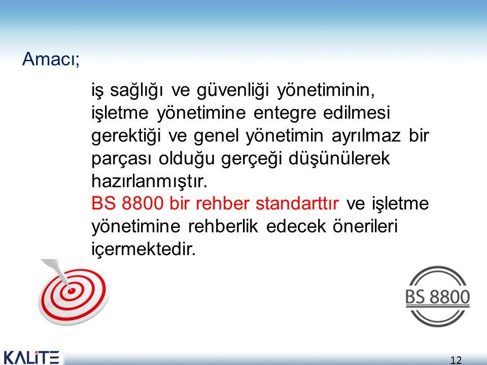 Amacı; iş sağlığı ve güvenliği yönetiminin, işletme yönetimine entegre edilmesi.