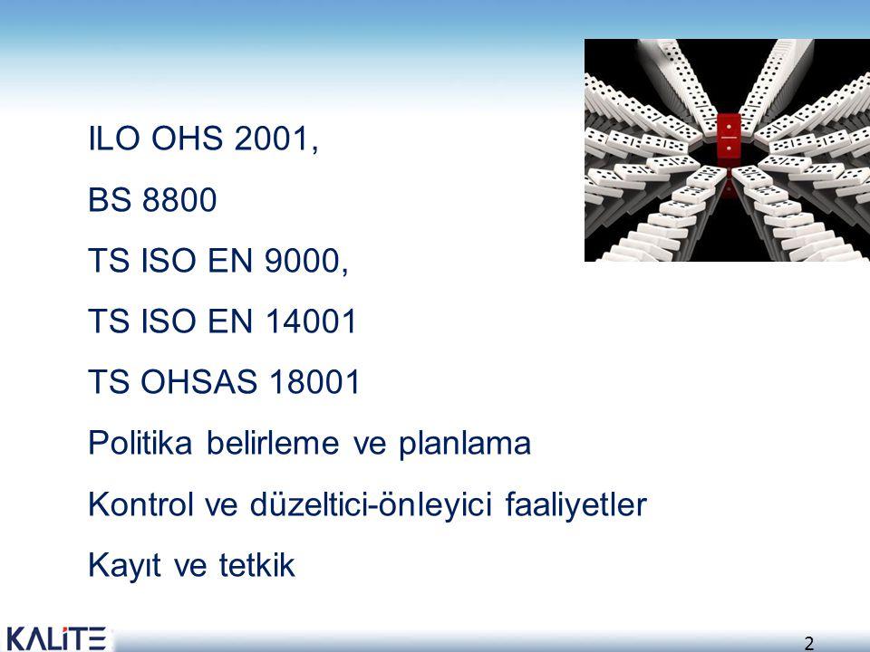 ILO OHS 2001, BS 8800. TS ISO EN 9000, TS ISO EN 14001. TS OHSAS 18001. Politika belirleme ve planlama.