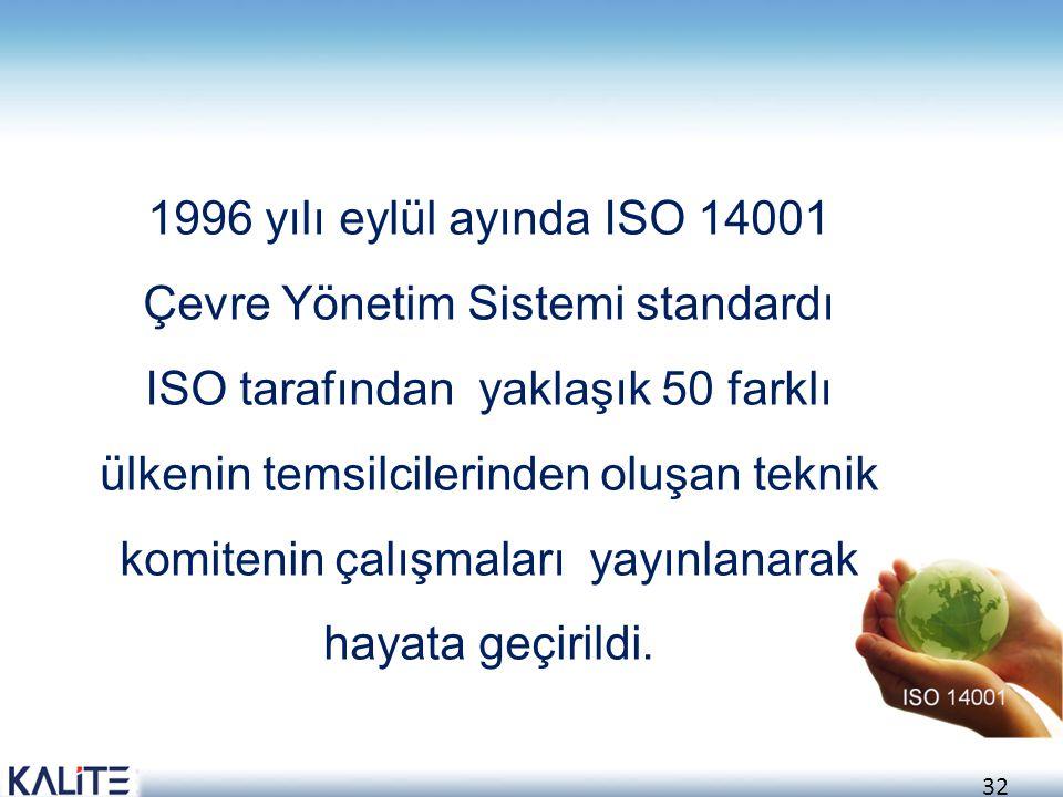 1996 yılı eylül ayında ISO 14001 Çevre Yönetim Sistemi standardı ISO tarafından yaklaşık 50 farklı ülkenin temsilcilerinden oluşan teknik komitenin çalışmaları yayınlanarak hayata geçirildi.