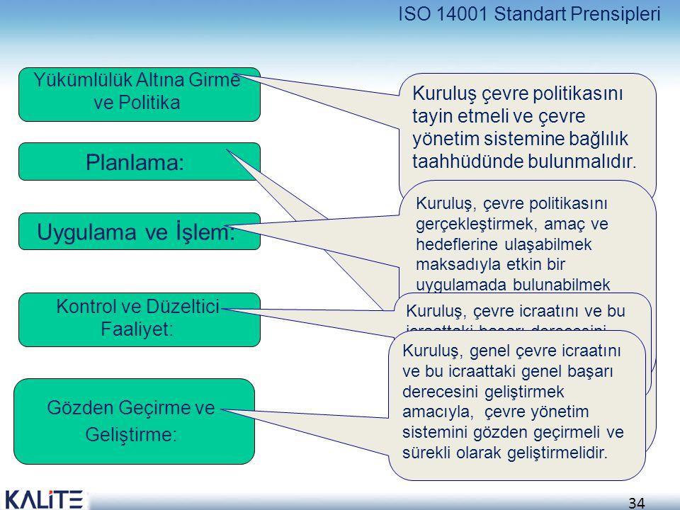 Planlama: Uygulama ve İşlem: ISO 14001 Standart Prensipleri