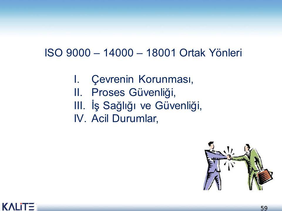 ISO 9000 – 14000 – 18001 Ortak Yönleri Çevrenin Korunması, Proses Güvenliği, İş Sağlığı ve Güvenliği,