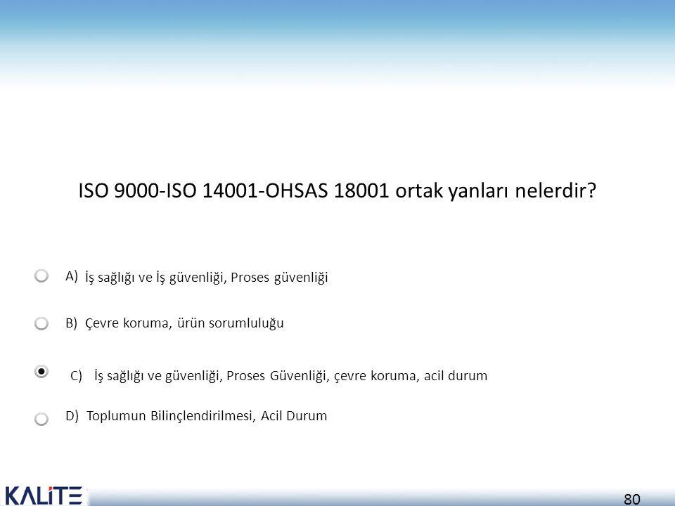 ISO 9000-ISO 14001-OHSAS 18001 ortak yanları nelerdir