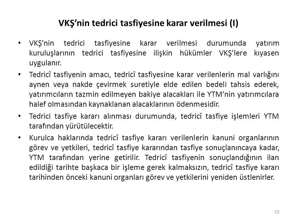 VKŞ'nin tedrici tasfiyesine karar verilmesi (I)