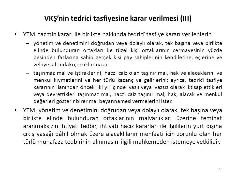 VKŞ'nin tedrici tasfiyesine karar verilmesi (III)