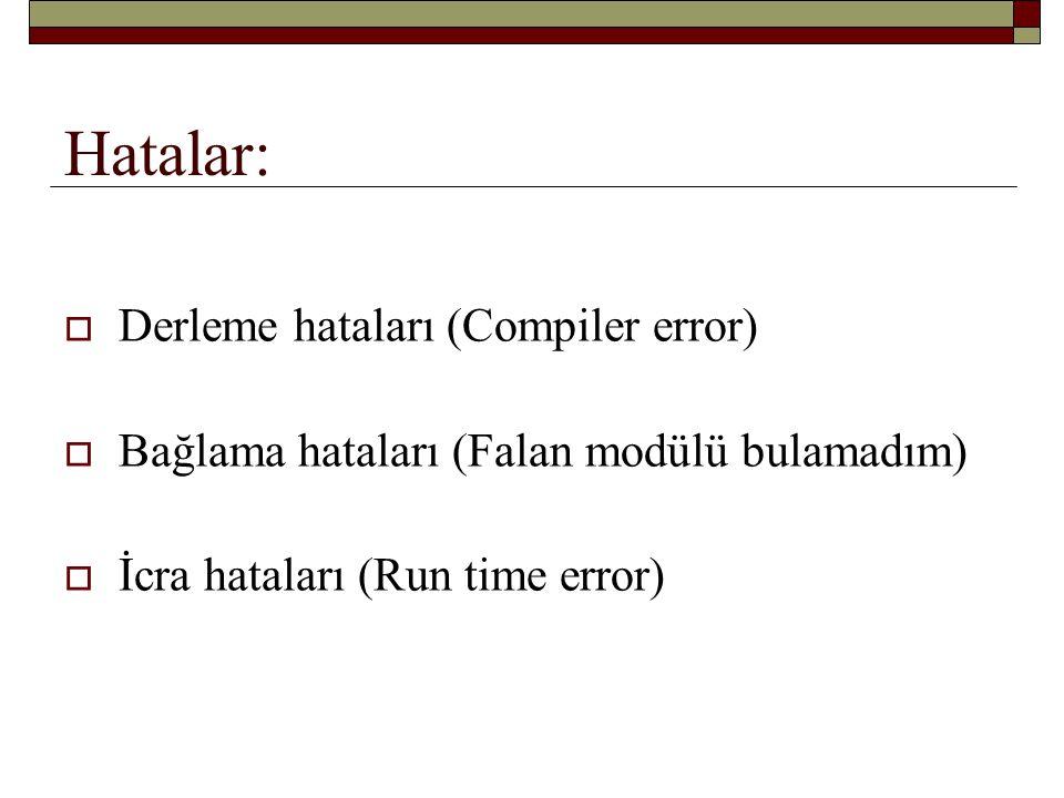 Hatalar: Derleme hataları (Compiler error)