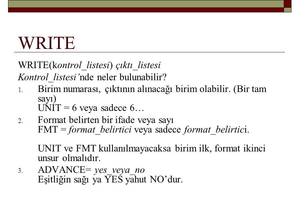 WRITE WRITE(kontrol_listesi) çıktı_listesi