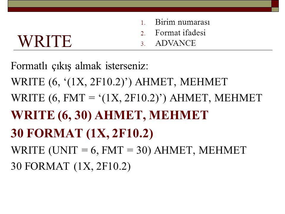 WRITE WRITE (6, 30) AHMET, MEHMET 30 FORMAT (1X, 2F10.2)
