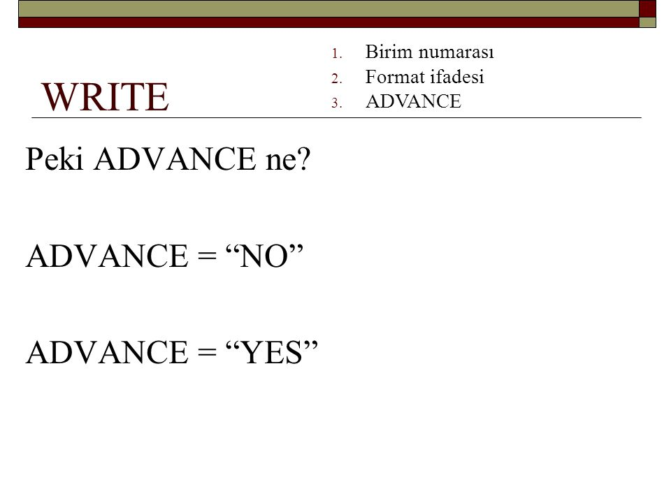 WRITE Peki ADVANCE ne ADVANCE = NO ADVANCE = YES Birim numarası