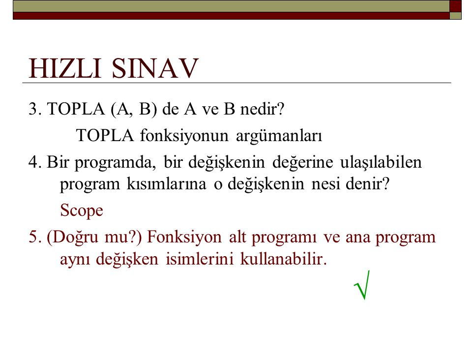 √ HIZLI SINAV 3. TOPLA (A, B) de A ve B nedir