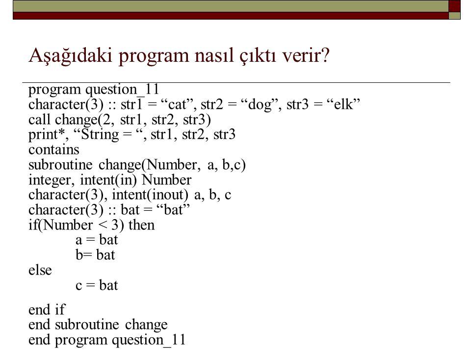 Aşağıdaki program nasıl çıktı verir