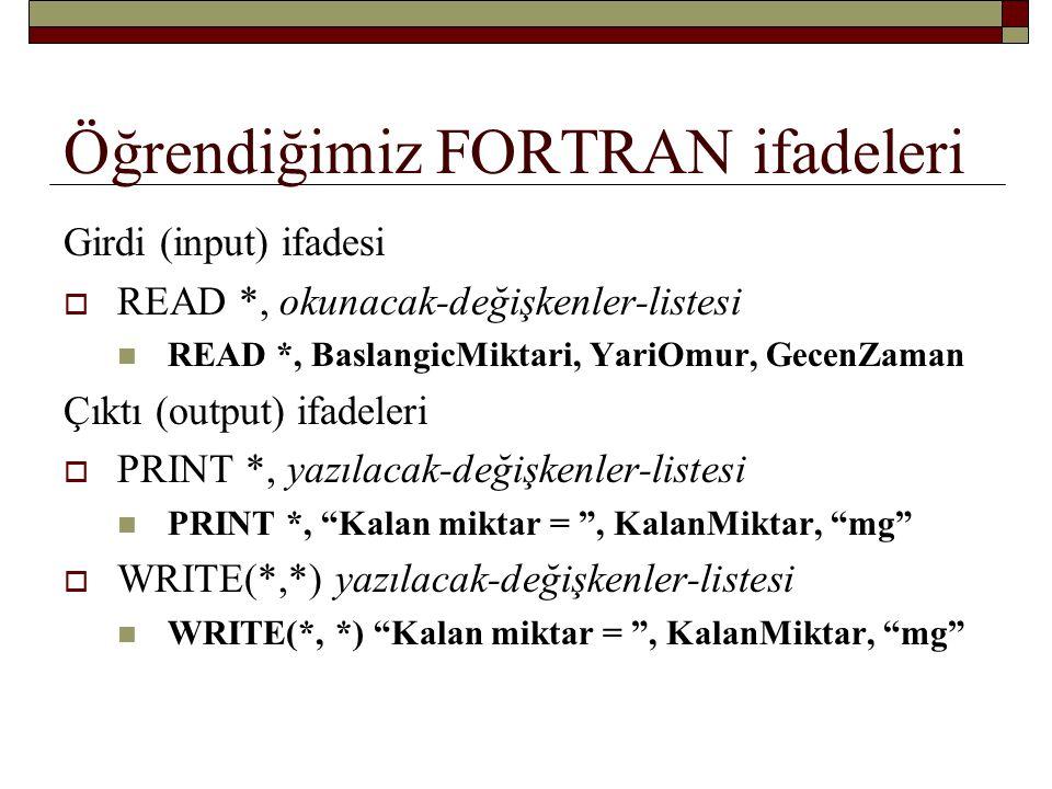 Öğrendiğimiz FORTRAN ifadeleri