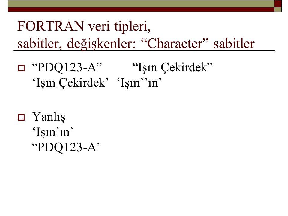 FORTRAN veri tipleri, sabitler, değişkenler: Character sabitler