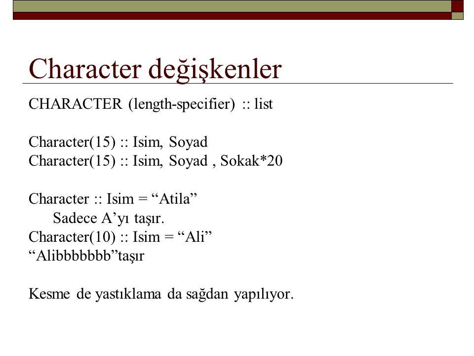 Character değişkenler