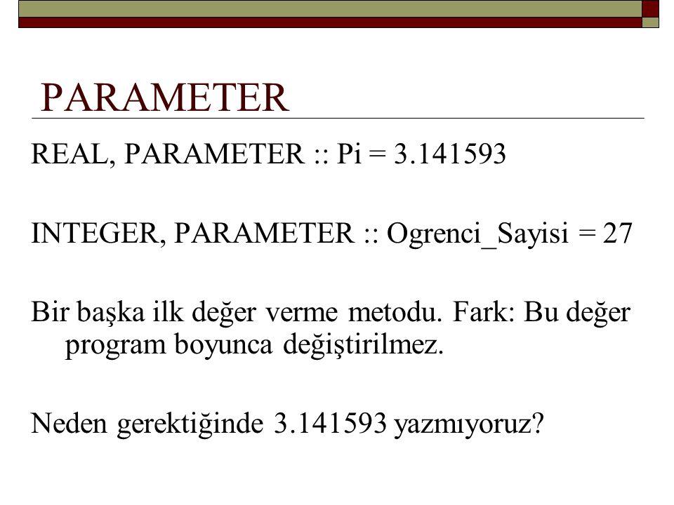 PARAMETER REAL, PARAMETER :: Pi = 3.141593