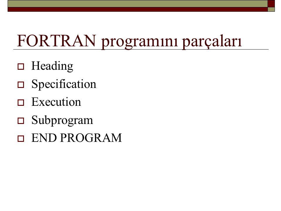 FORTRAN programını parçaları