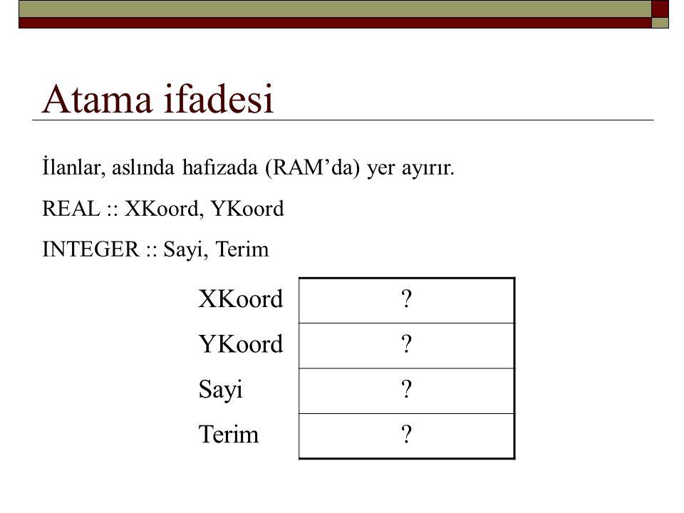 Atama ifadesi XKoord YKoord Sayi Terim