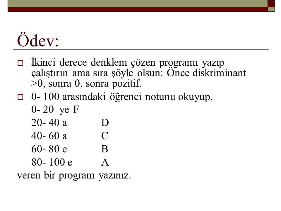 Ödev: İkinci derece denklem çözen programı yazıp çalıştırın ama sıra şöyle olsun: Önce diskriminant >0, sonra 0, sonra pozitif.