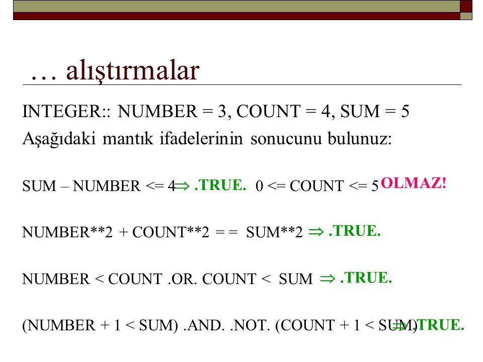 … alıştırmalar INTEGER:: NUMBER = 3, COUNT = 4, SUM = 5