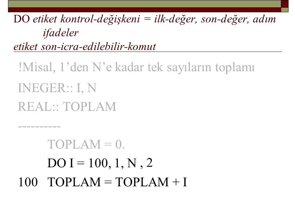 !Misal: 1'den N'e kadar sayıların toplamı: INEGER:: I, N REAL:: TOPLAM