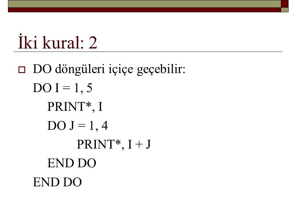 İki kural: 2 DO döngüleri içiçe geçebilir: DO I = 1, 5 PRINT*, I