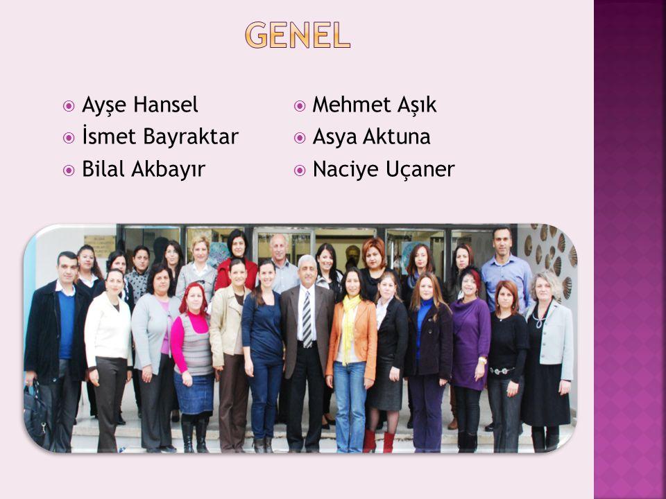 GENEL Ayşe Hansel İsmet Bayraktar Bilal Akbayır Mehmet Aşık