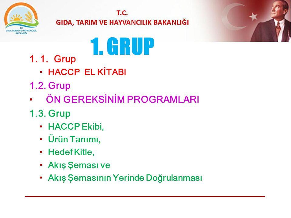 1. GRUP 1. 1. Grup 1.2. Grup ÖN GEREKSİNİM PROGRAMLARI 1.3. Grup