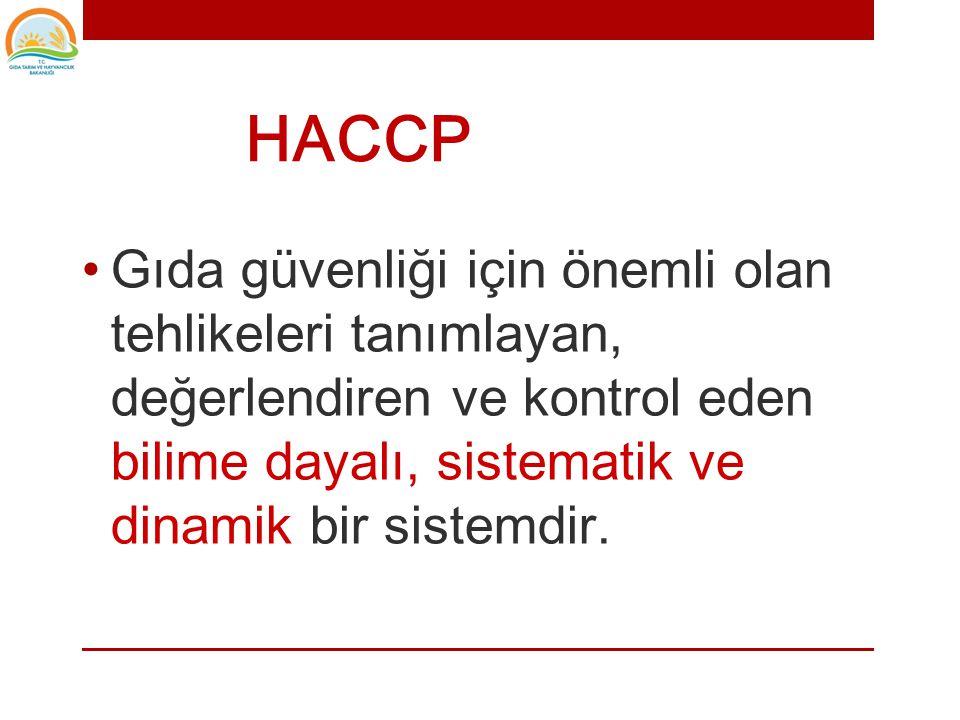 HACCP Gıda güvenliği için önemli olan tehlikeleri tanımlayan, değerlendiren ve kontrol eden bilime dayalı, sistematik ve dinamik bir sistemdir.