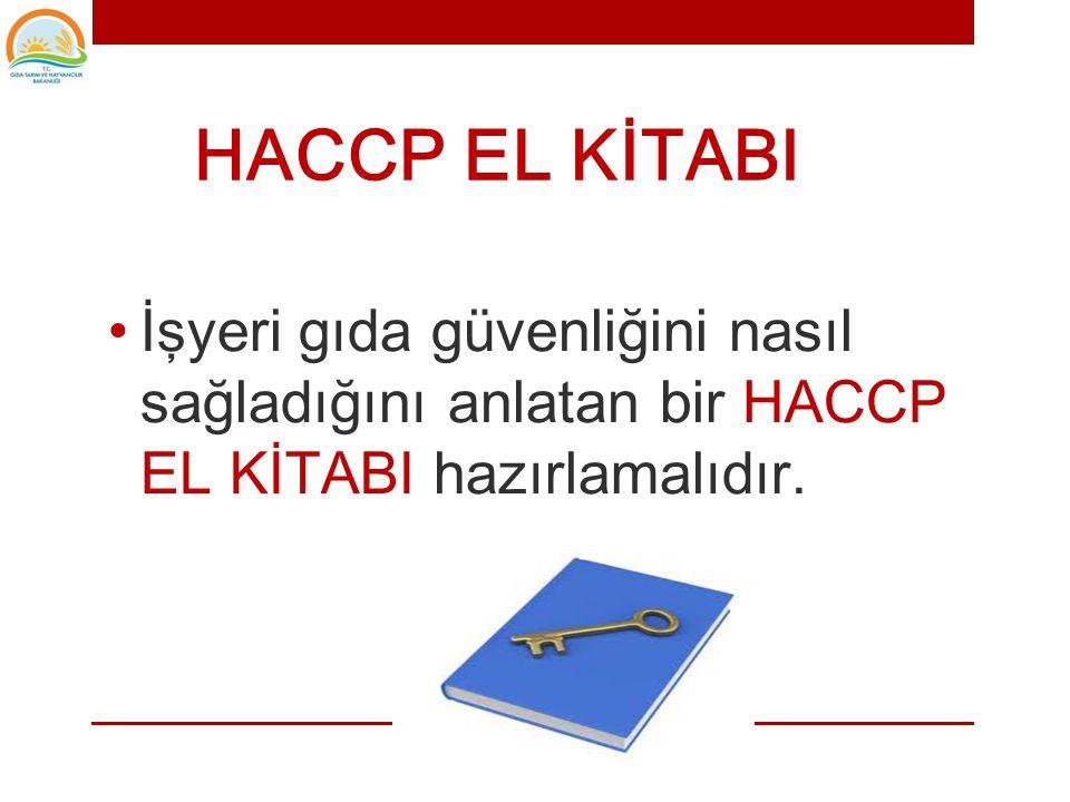 HACCP EL KİTABI İşyeri gıda güvenliğini nasıl sağladığını anlatan bir HACCP EL KİTABI hazırlamalıdır.