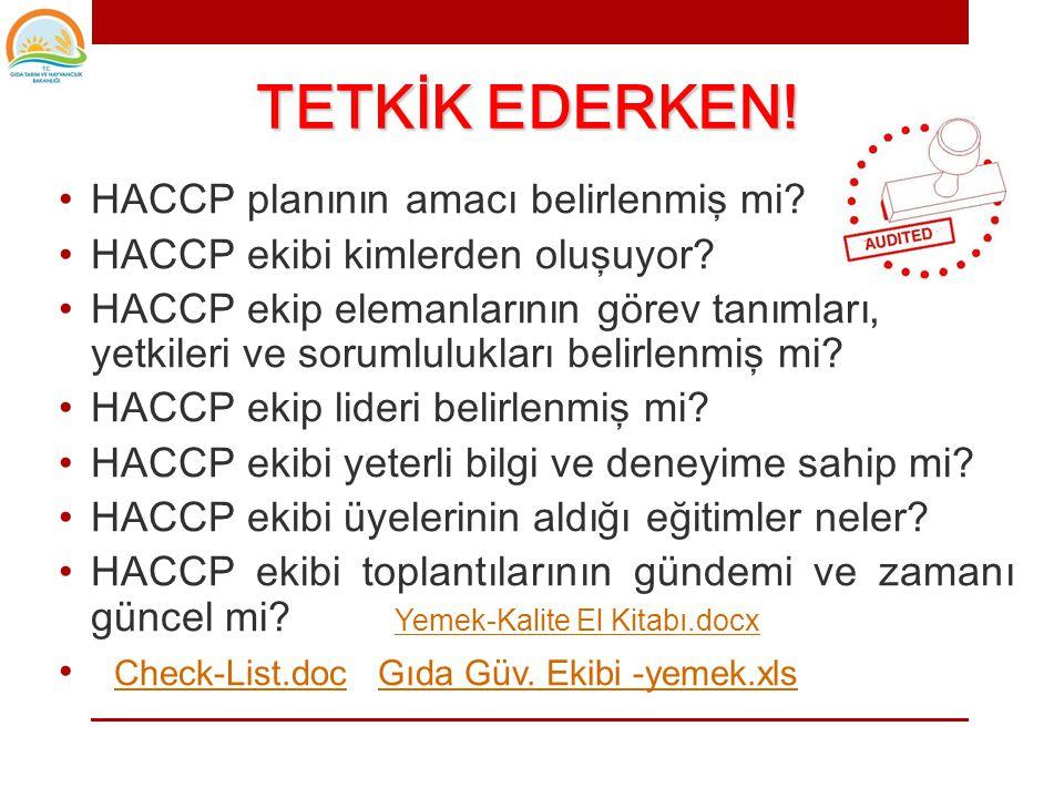 TETKİK EDERKEN! HACCP planının amacı belirlenmiş mi