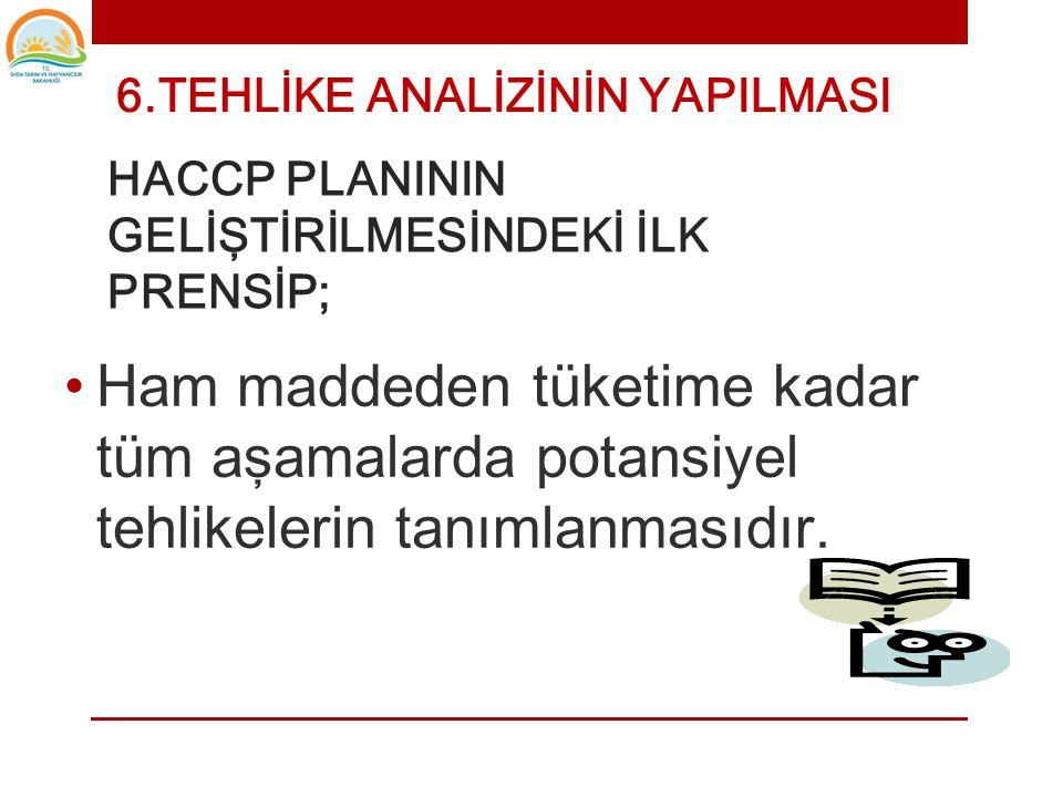 HACCP PLANININ GELİŞTİRİLMESİNDEKİ İLK PRENSİP;
