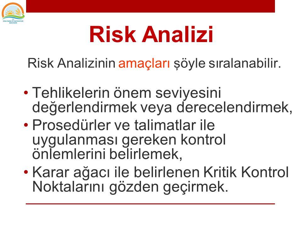 Risk Analizi Risk Analizinin amaçları şöyle sıralanabilir.