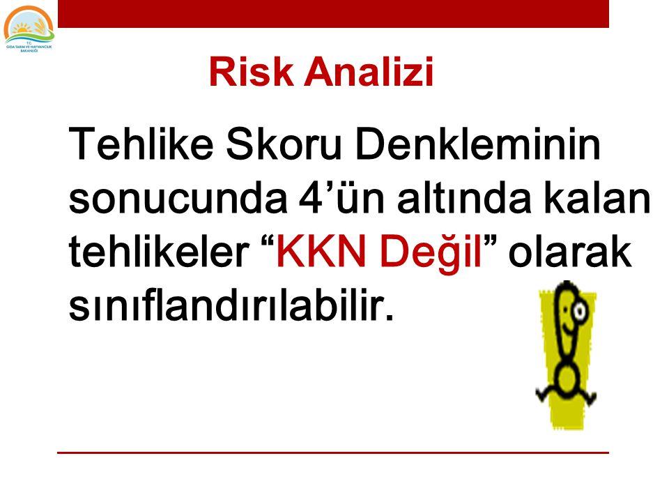 Risk Analizi Tehlike Skoru Denkleminin sonucunda 4'ün altında kalan tehlikeler KKN Değil olarak sınıflandırılabilir.