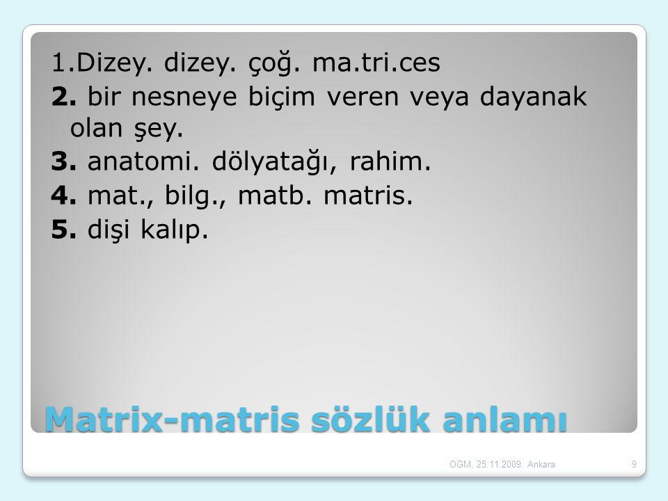 Matrix-matris sözlük anlamı