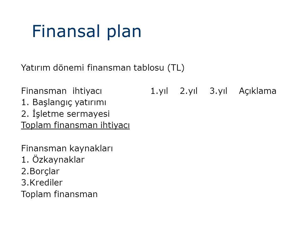 Finansal plan Yatırım dönemi finansman tablosu (TL)