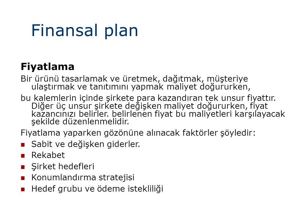 Finansal plan Fiyatlama