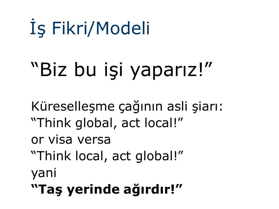 Biz bu işi yaparız! İş Fikri/Modeli Küreselleşme çağının asli şiarı:
