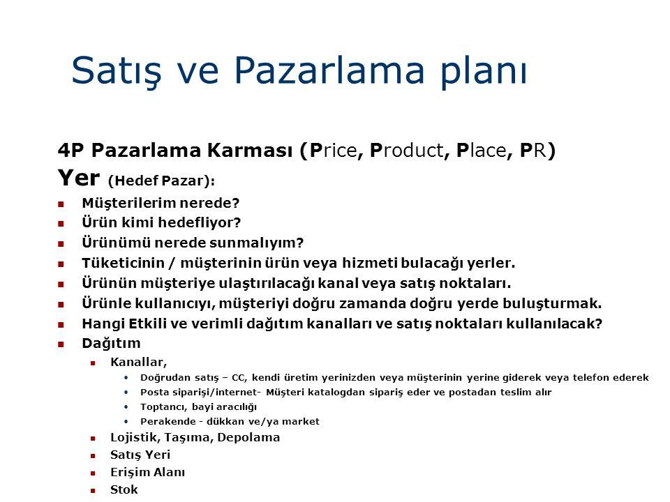 Satış ve Pazarlama planı
