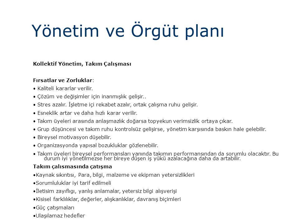 Yönetim ve Örgüt planı Kollektif Yönetim, Takım Çalışması