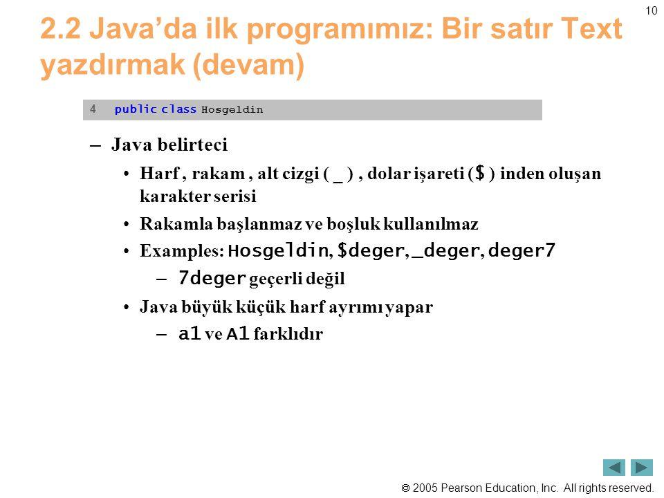 2.2 Java'da ilk programımız: Bir satır Text yazdırmak (devam)