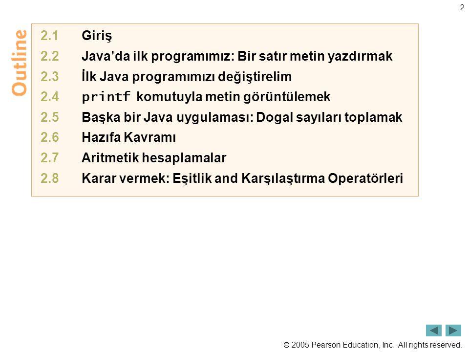 2.1 Giriş 2.2 Java'da ilk programımız: Bir satır metin yazdırmak. 2.3 İlk Java programımızı değiştirelim.